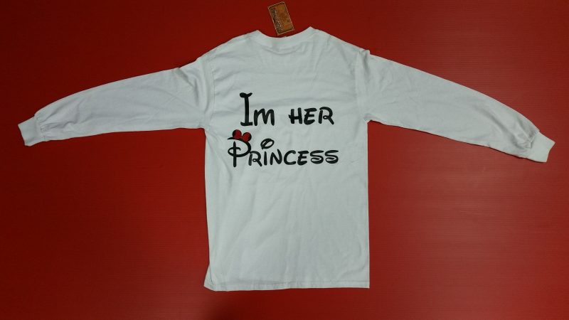 White Men's Cut Long Sleeve Tshirt I'm Her Princess LGBT Lrsbian Minnie Mouse Red Bow Married With Mickey