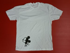 White Mens Tshirt Mickey Mouse Reaching For a Kiss Married With Mickey