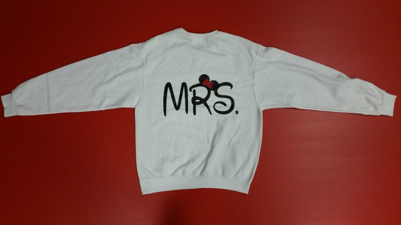 White Crewnck Sweater Minnie Mouse Kissing Mrs Minnie Mouse Red Polka Dots Bow Married With Mickey