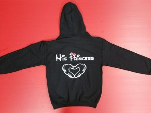 Black Sweatshirt Minnie Mouse Kiss His Princess Hands In Heart Shape Minnie Mouse Red Bow Married With Mickey
