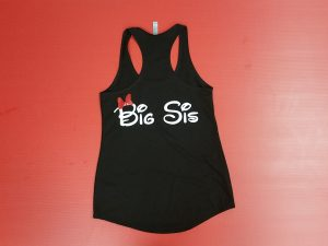 Black Racerback Ladies Tank Top Minnie Mouse Head With Red Bow Big Sis Married With Mickey