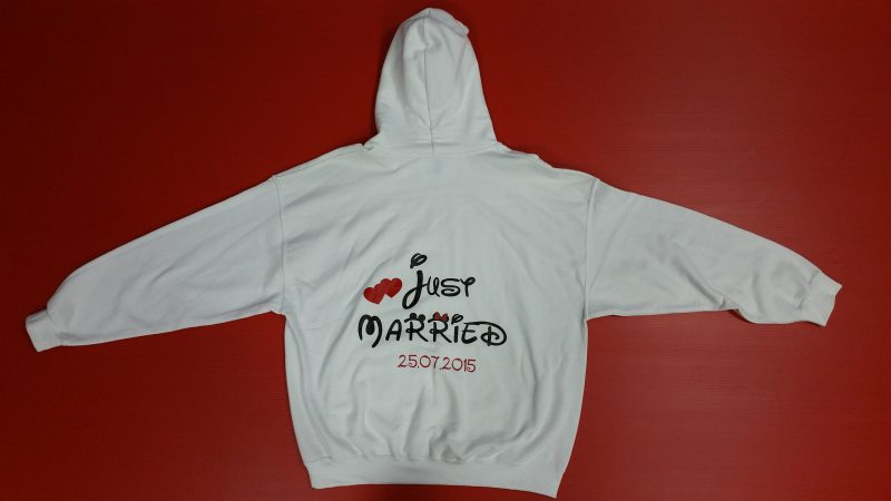 White Hoodie Minnie Mouse Kiss Just Married Little Red Hearts Minnie Mouse Polka Dot Bow 25.07.2015 wedding date Married With Mickey