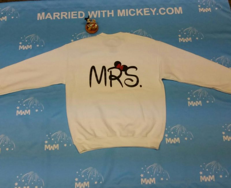 White Mens Cut Crew Neck Sweater Medium , Mrs (back design), Minnie Mouse (front design) MWM Married WIth Mickey