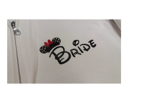 Bride Groom Cute Shrits Mickey Minie Mouse Head and Red Polka Dots Bow Married With Mickey MWM