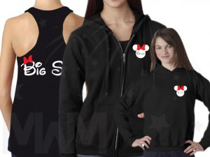 3 and/or more Sisters Matching Cute Shirts Big Sis Lil Sis add names on front to Minnie Mouse Head married with mickey mwm
