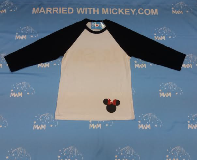White with Black Sleeves Baseball Tee Mens Cut Medium, Lil Sis (back design with rhinestones), Minnie Head (front design with rhinestones) married with mickey