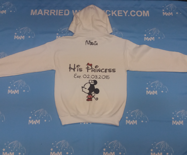 White Mens Cut Hoodie Small, blank front design, Maria His Princess Est. 02.03.2015 married with mickey mwm