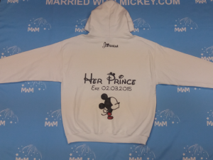 White Mens Cut Hoodie Large, blank front, Joshua Her Prince Est. 02.03.2015 Mickey Mouse married with mickey mwm