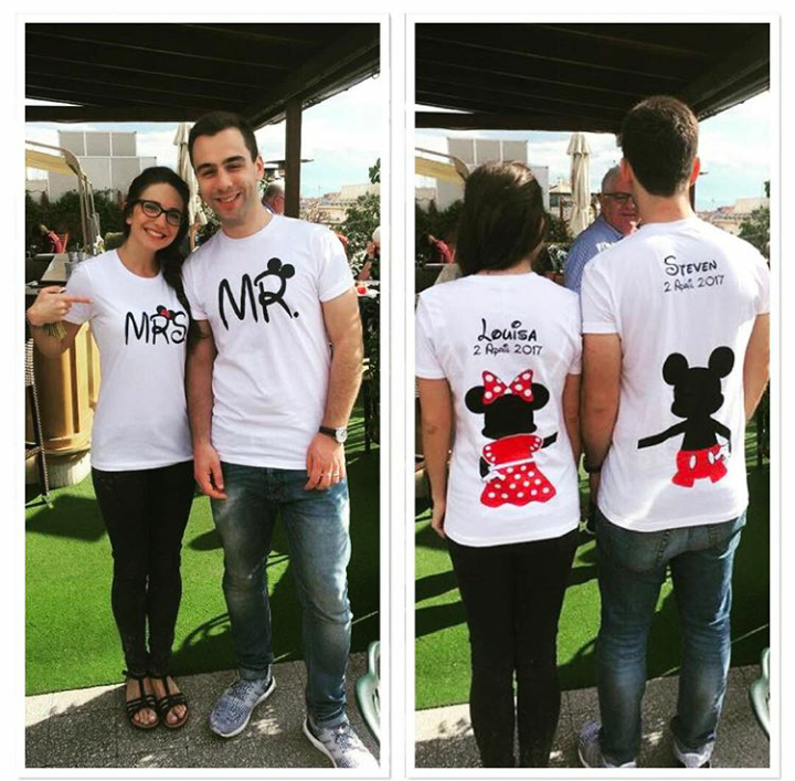 Mr and Mrs Mickey Minnie Mouse Disney Cute Holding Hands married with mickey couple tshirts