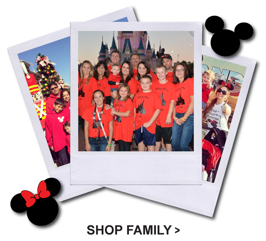 Poloroid picture of Disney Family wearing Matching T Shirts standing in front of Disney Castle