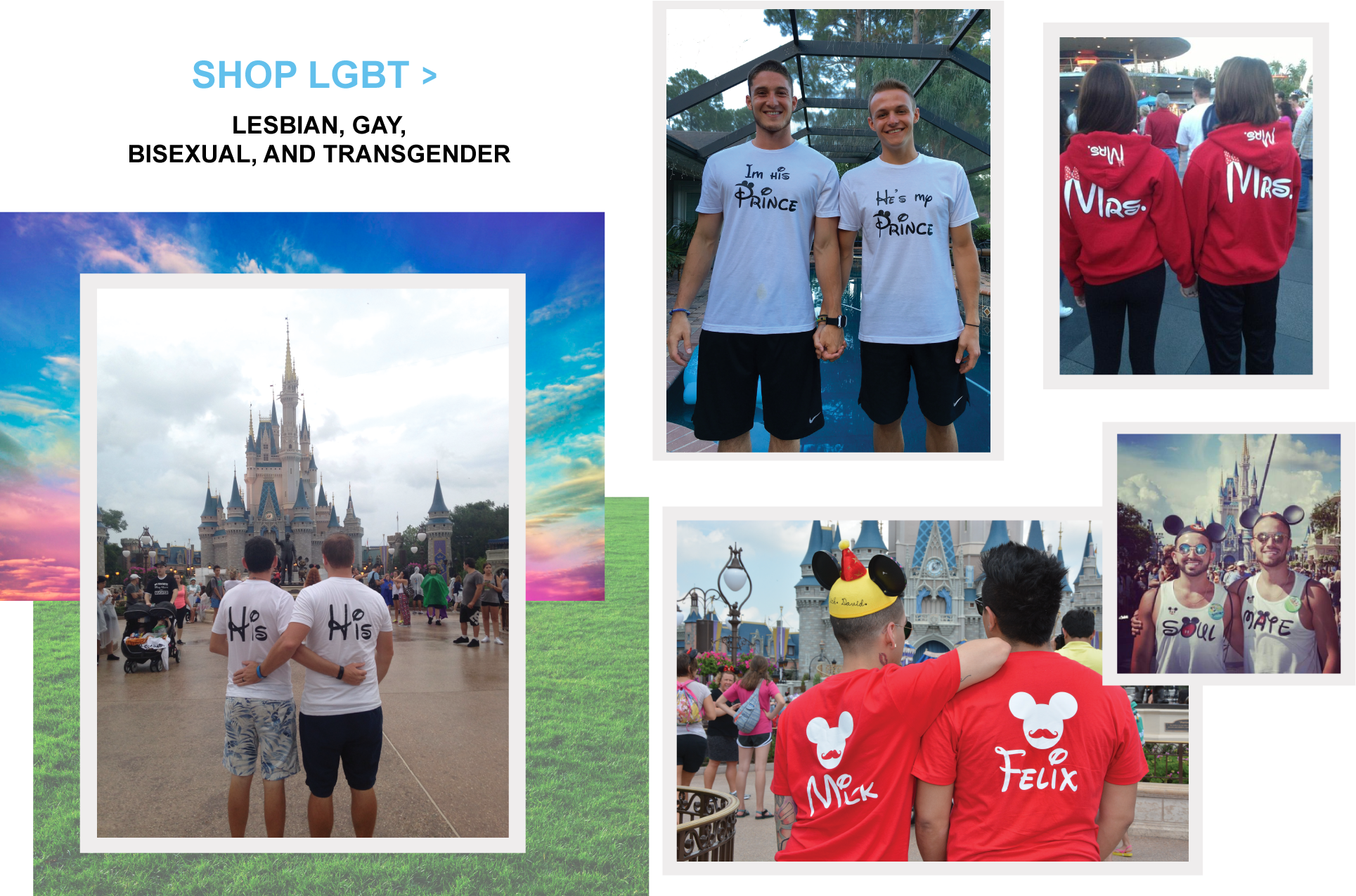 Disney Vacation Matching Lesbian and Gay LGBT Shirts with custom names and dates