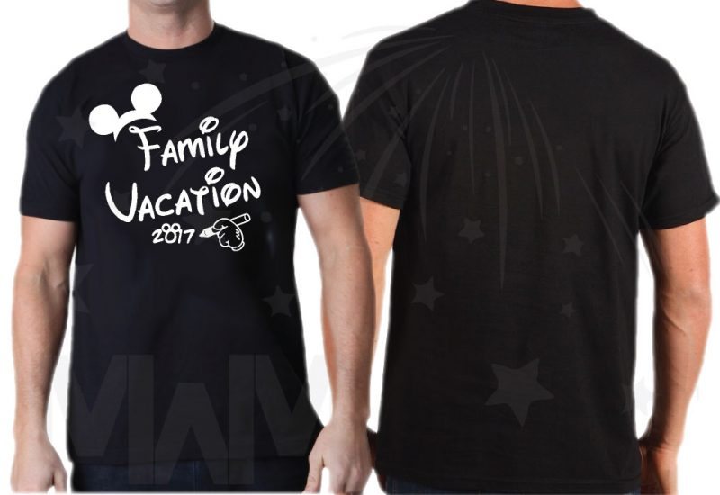 Family Set Of Shirts Choose Any Style, Family Vacation 2017 Mickey Mouse Glove Hand black mens cut t shrit