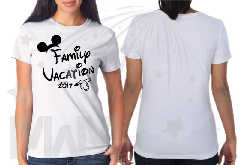 Family Set Of Shirts Choose Any Style, Family Vacation 2017 Mickey Mouse Glove Hand ladies cut white tshirt