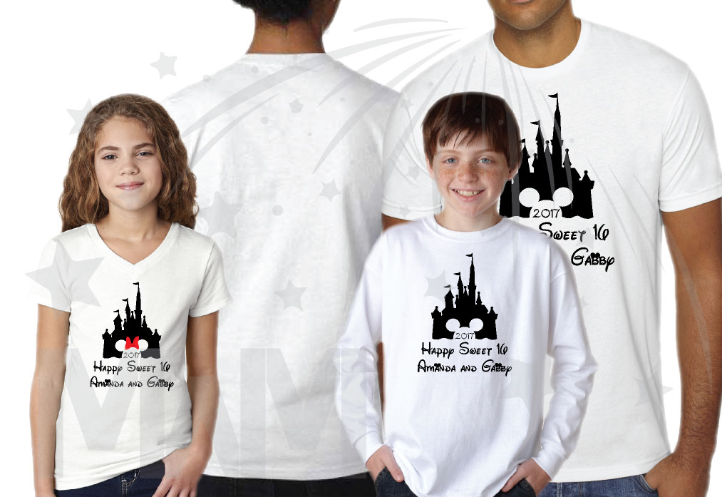 56fda78df 3 and/or more Friends Shirts Cinderella Castle Minnie Mouse Head Cute Red  Bow 2017