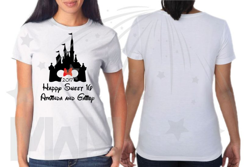 3 and/or more Friends Shirts Cinderella Castle Minnie Mouse Head Cute Red Bow 2017 Happy Sweet 16 Amanda and Gabby married with mickey