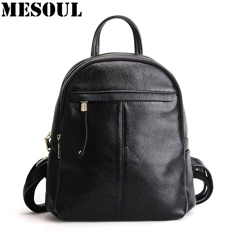 13a616605c Women s Casual Daypacks Genuine Leather Fashion Travel Backpack High Quality  Youth School Bags For Girls Shoulder Bag Mochila