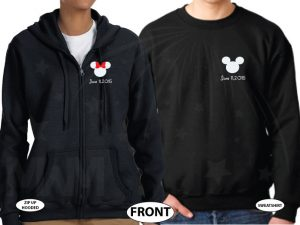 Mr and Mrs Mickey Minnie Mouse Heads With Wedding Date married with mickey black zip up and sweater