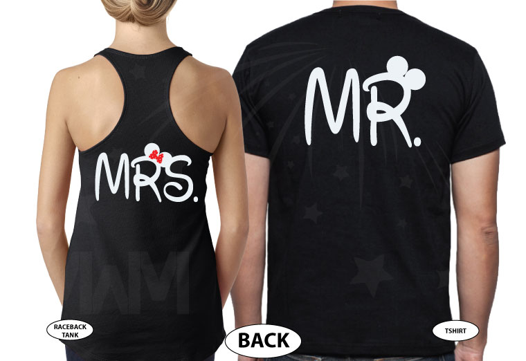 Mr and Mrs Mickey Minnie Mouse Heads With Wedding Date married with mickey black tee and tank