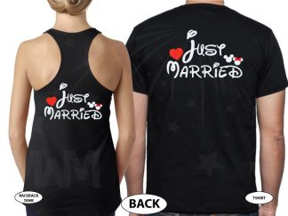 Just Married Mickey Minnie Mouse Disney Couple Matching Shirts married with mickey black tee and tank