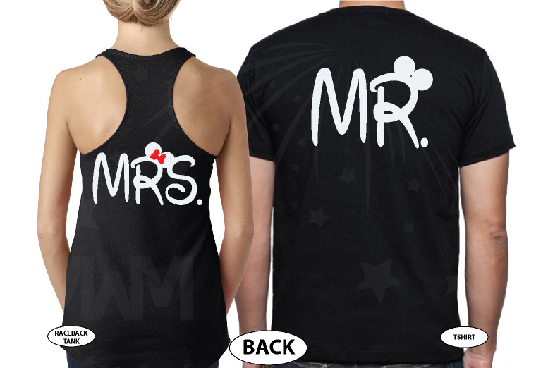 Mr Mrs Little Cute Mickey Minnie Mouse Kiss married with mickey black tee and tank