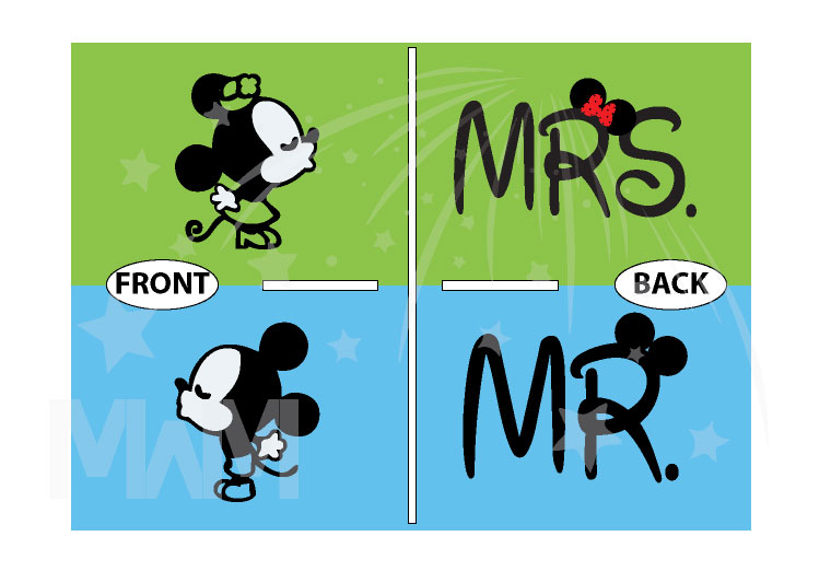 Mr Mrs Little Cute Mickey Minnie Mouse Kiss married with mickey