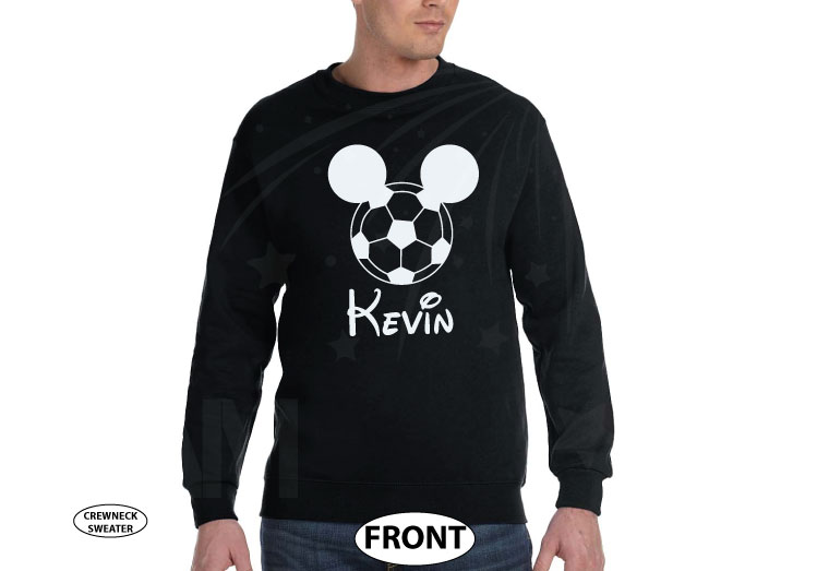 Mickey Mouse Football Head, Custom Name married with mickey black sweater