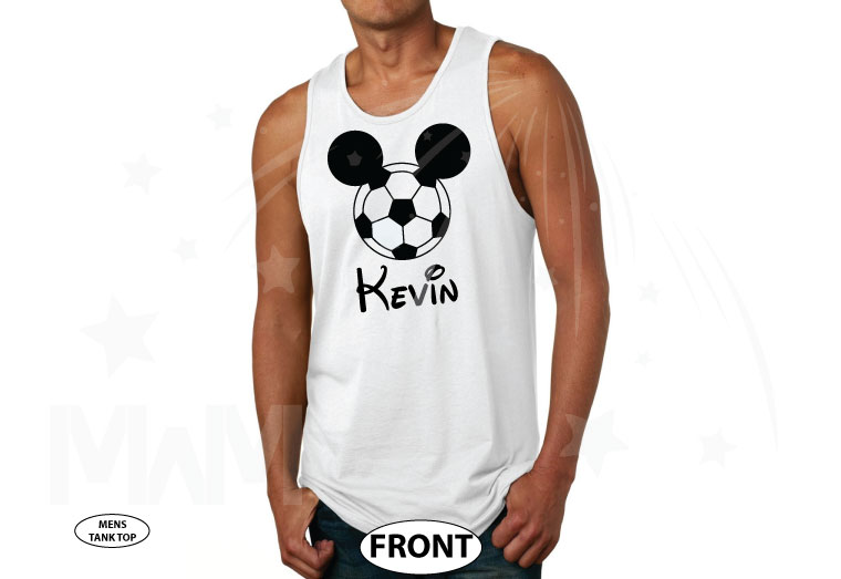 Mickey Mouse Football Head, Custom Name married with mickey white tank top