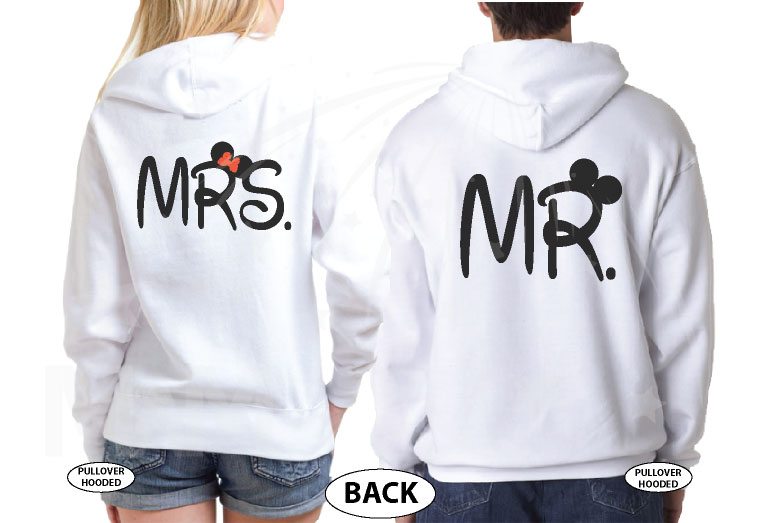 Mr and Mrs Disney Cute Couple Matching Shirts With Your Wedding Date married with mickey white pullover hoodies
