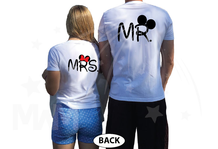 Cute Just Married Shirts For Mr Mrs With Big Mickey Minnie Mouse Ears married with mickey white tshirts