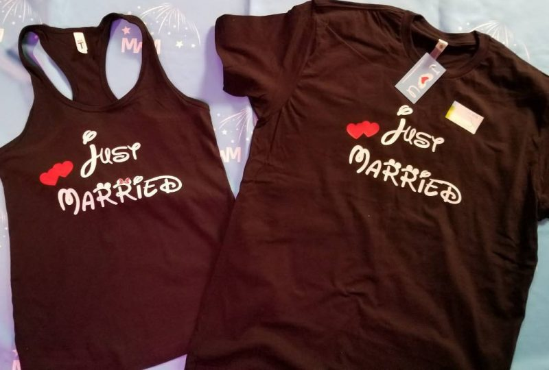 Cute Just Married Shirts For Mr Mrs With Big Mickey Minnie Mouse Ears married with mickey black tank top and tshirt