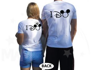 She's Mine He's Mine I Do With Mickey Pointing Hand Diamond Ring Best Disneymoon married with mickey white tshirts