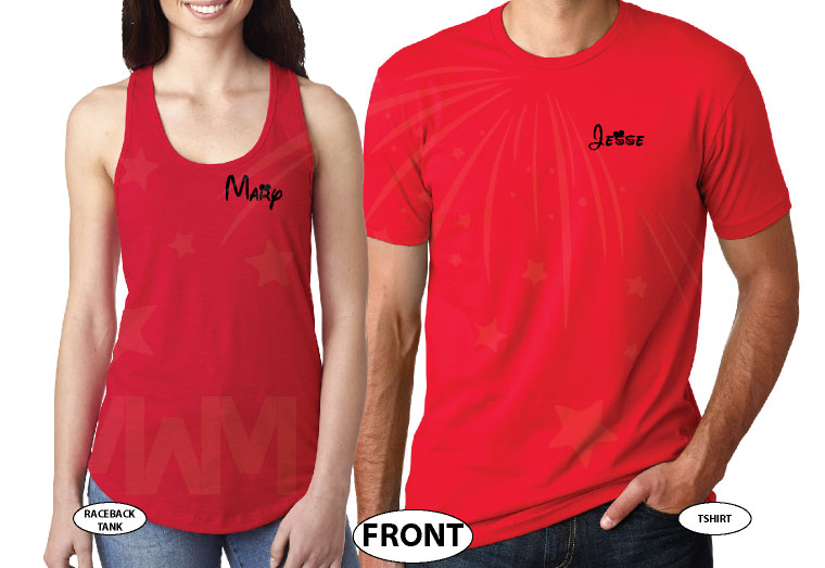 Mickey Minnie Mouse Hands In Heart Shape With Custom Names Matching T-Shirts, V Neck Tshirts, Tank Tops, Baseball Tees and more married with mickey red tank and tshirt