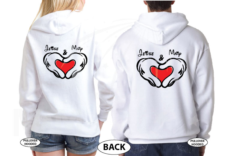 Mickey Minnie Mouse Hands In Heart Shape With Custom Names Matching T-Shirts, V Neck Tshirts, Tank Tops, Baseball Tees and more married with mickey white hoodies