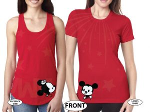 LGBT Lesbian She's My Princess I'm Her Princess Kissing Mickey Minnie Mouse married with mickey mwm red tshirts