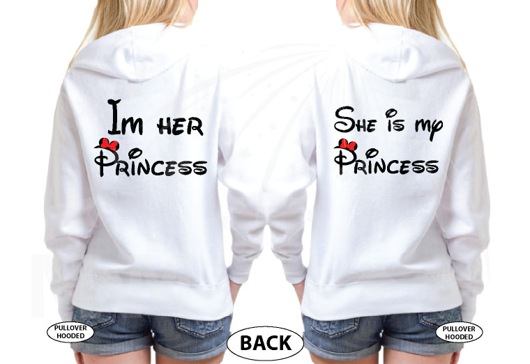 LGBT Lesbian She's My Princess I'm Her Princess Kissing Mickey Minnie Mouse married with mickey mwm white hoodies