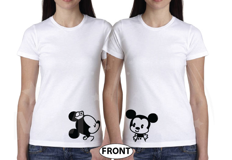 LGBT Lesbian She's My Princess I'm Her Princess Kissing Mickey Minnie Mouse married with mickey mwm white tshirts