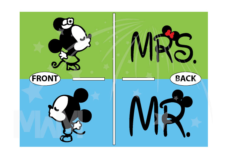 Disney Mr Mrs Matching Couple Shirts With Mickey Minnie Mouse Kissing married with mickey