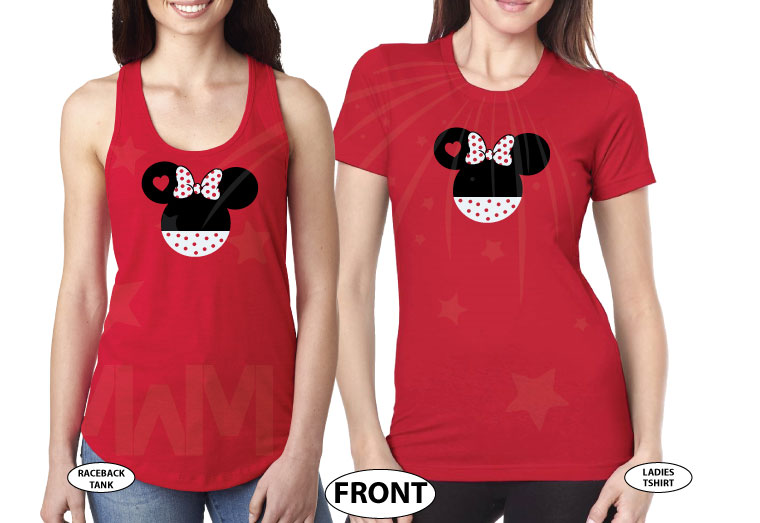 LGBT Lesbian She's My Princess I'm Her Princess Minnie Mouse Bow Polka Dot red tank tops