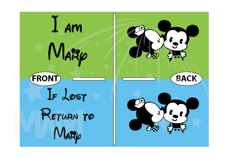 If Lost Return To Mary (Your Name) With Little Mickey Minnie Mouse Cute Kiss married with mickey