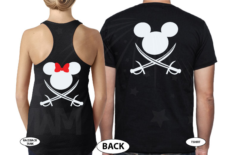 Disney Couple Mickey Minnie Mouse Pirate Awesome Shirts With Custom Names married with mickey black tank top and tshirt