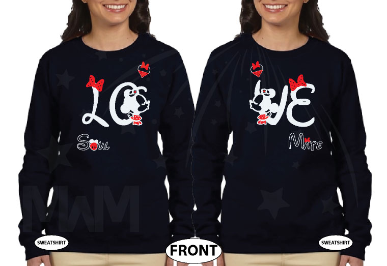 LGBT Lesbians Love Soulmate Shirts Kissing Minnie Mouse Cute Polka Dot Bow (free rhinestones, optional) married with mickey mwm black sweatshirts