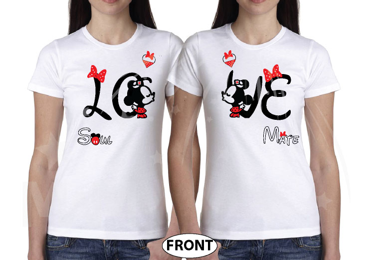LGBT Lesbians Love Soulmate Shirts Kissing Minnie Mouse Cute Polka Dot Bow (free rhinestones, optional) married with mickey mwm white tees