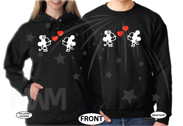 Just Married Custom Wedding Date Little Mickey Minnie Mouse Cute Kiss married with mickey black pullover hooded and sweatshirt