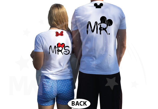 Mr Mrs Minnie Mouse Bow And Mickey Mouse Ears On Hood married with mickey white tshirts