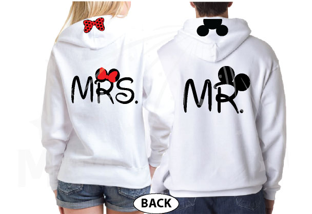 Mr Mrs Minnie Mouse Bow And Mickey Mouse Ears On Hood married with mickey white hoodies