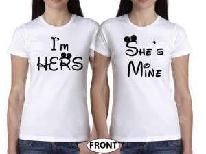 LGBT Lesbian She's Mine I'm Hers With Wedding Date married with mickey white tees