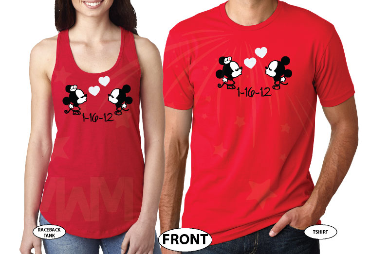 Mr Mrs Little Mickey Minnie Mouse Kiss With Wedding Date Cute Little Hearts married with mickey red tshirts