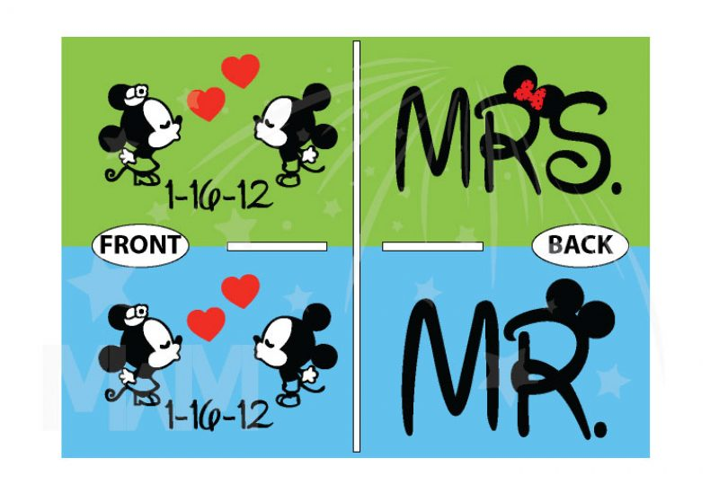 Mr Mrs Little Mickey Minnie Mouse Kiss With Wedding Date Cute Little Hearts married with mickey