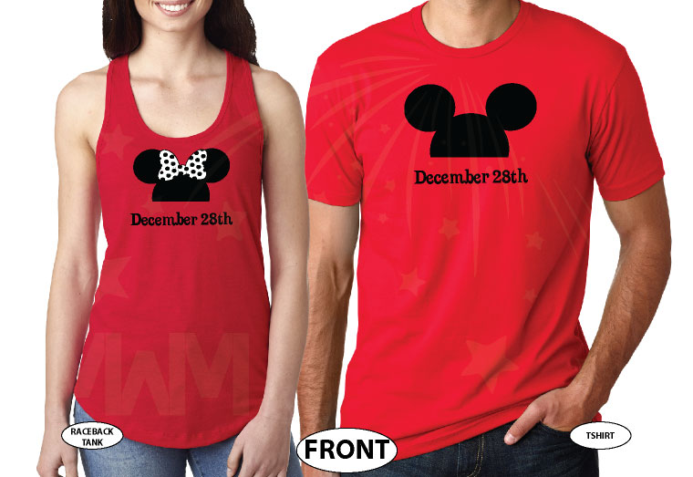 Mr Mrs Mickey Minnie Mouse Heads With Custom Wedding Date married with mickey red tshirts