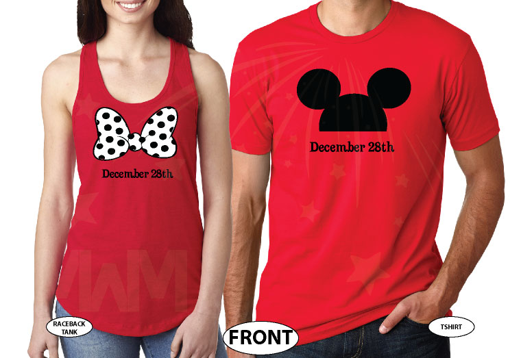 His Hers Minnie Mouse Bow Mickey Mouse Head With Wedding Date married with mickey red tshirts